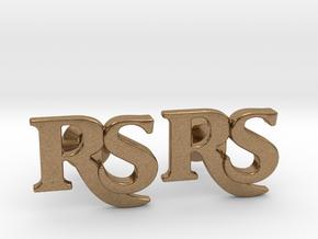 Monogram Cufflinks RS in Natural Brass