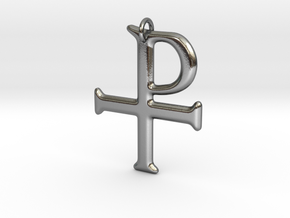 Tau-Rho Staurogram Pendant in Polished Silver