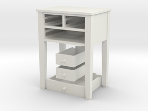Shaker Table 3 Drawers various scales in White Natural Versatile Plastic: 1:12