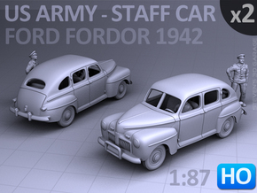 American Staff Car 1942 (HO) - 2 Pack in Smooth Fine Detail Plastic