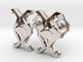 HEAD TO HEAD Union, Small Cufflinks in Rhodium Plated Brass