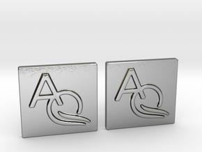 Custom Logo Cufflinks in Polished Silver