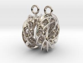 Twisted Scherk Linked 4,3 Torus Knots Earrings in Platinum
