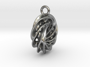Twisted Scherk Linked 4,3 Torus Knots Pendant – Sm in Natural Silver