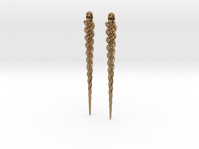 Unicorn Horn Earrings in Raw Brass