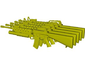 1/30 scale Colt M-16A1 & M-203 rifles x 5 in Smoothest Fine Detail Plastic
