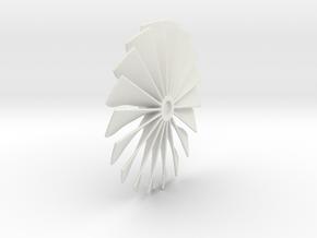 Fan Piece for Turbo Fan Jet Engines in White Natural Versatile Plastic