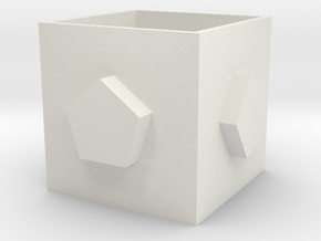 Square pen holder in White Natural Versatile Plastic