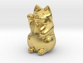 Maneki Neko tiny polished version in Polished Brass