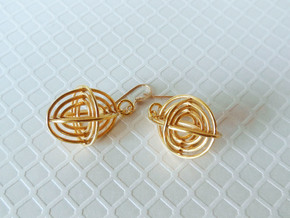 Concentric Borromean -- Precious Metal Earrings in 18k Gold Plated Brass