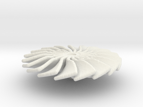 20 mm Diameter Turbo Fan for Jet Engines in White Natural Versatile Plastic