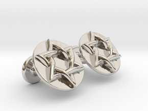 Magen David Cufflinks in Rhodium Plated Brass