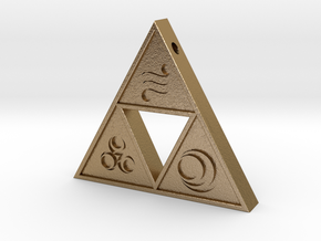 Goddess Triforce in Polished Gold Steel