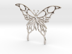Butterfly 1 in Rhodium Plated Brass