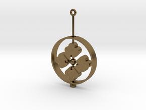 Family Emblem: Hanabishi (Single) in Natural Bronze (Interlocking Parts)