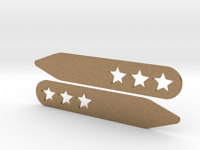 Collar stays: 3 Stars  in Natural Brass