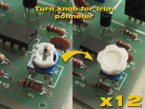 Assembly Of 12 Knobs for trimpotmeters in White Natural Versatile Plastic