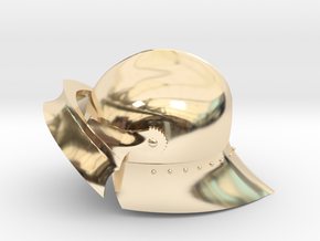 Playmobil - 15th century sallet with open visor in 14K Yellow Gold