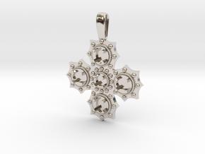 1475 medieval cross pendant in Rhodium Plated Brass