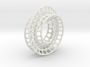 Quarter twist Möbius strip in White Natural Versatile Plastic