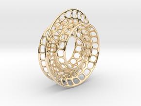 Quarter twist Möbius strip in 14k Gold Plated Brass