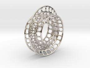 Quarter twist Möbius strip in Rhodium Plated Brass