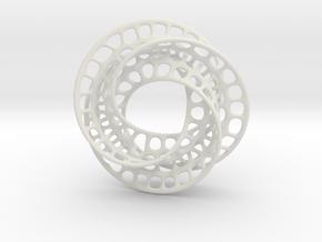 3 quarter twist Möbius strip in White Natural Versatile Plastic