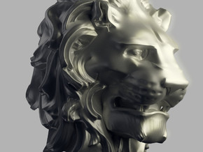 Lion Head in Natural Silver