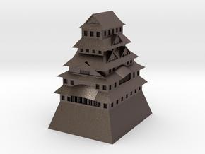 Himeji Castle in Polished Bronzed Silver Steel