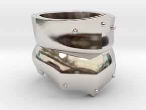 Bevor Ring in Rhodium Plated Brass