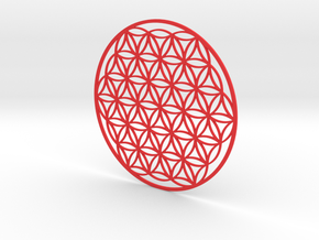 Flower of Life, Blume des Lebens, ø 4.5 in /114 mm in Red Strong & Flexible Polished