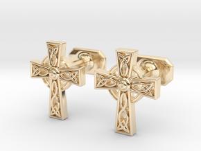 Celtic Cross Cufflinks in 14k Gold Plated Brass