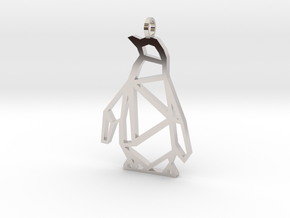 Geometric Penguin Necklace in Rhodium Plated Brass