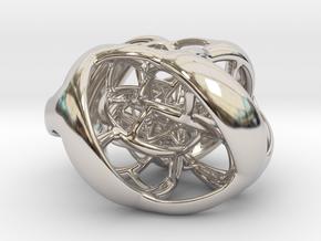 Cube Hopf preimage (corners) in Rhodium Plated Brass
