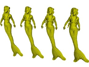 1/72 scale mermaid swimming figures x 4 in Smoothest Fine Detail Plastic