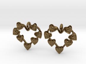 Valentine's hearties earrings in Polished Bronze