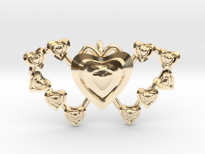 Valentine's 2 hearts Pendant in 14K Yellow Gold