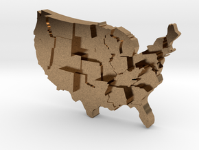 USA by Guns in Natural Brass