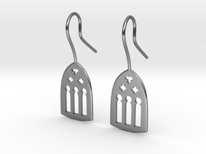 Cathedral Earrings in Polished Silver: Medium
