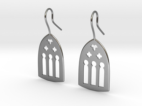 Cathedral Earrings in Polished Silver: Large