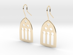 Cathedral Earrings in 14k Gold Plated Brass: Large