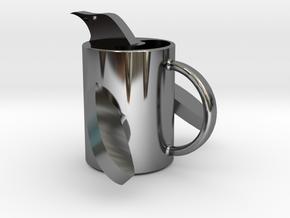penguin mug .stl in Fine Detail Polished Silver