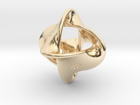 Unusual twisted D8 (bumps inside) in 14k Gold Plated Brass: Large