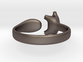 Cat Ring 1 in Polished Bronzed Silver Steel: Small