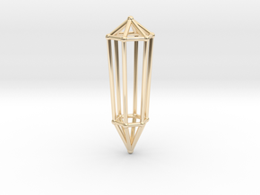 Phi Vogel Crystal - 6 sided in 14k Gold Plated Brass