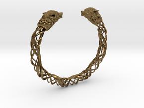 Viking wolf head bracelet size L in Natural Bronze: Large