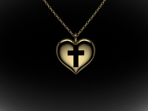 Cross Heart in Polished Brass