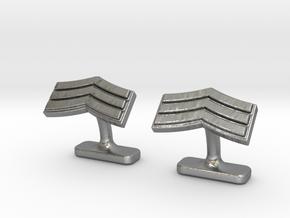 Mens sergeant 3 stripe cufflinks in Natural Silver
