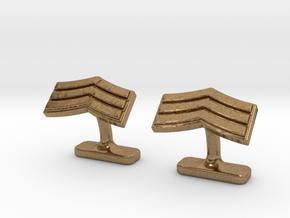 Mens sergeant 3 stripe cufflinks in Natural Brass