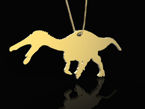 Suchomimus necklace Pendant in Raw Brass
